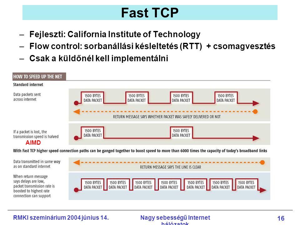 RMKI szeminárium 2004 június 14.Nagy sebességű Internet hálózatok 16 Fast TCP –Fejleszti: California Institute of Technology –Flow control: sorbanállási késleltetés (RTT) + csomagvesztés –Csak a küldőnél kell implementálni AIMD