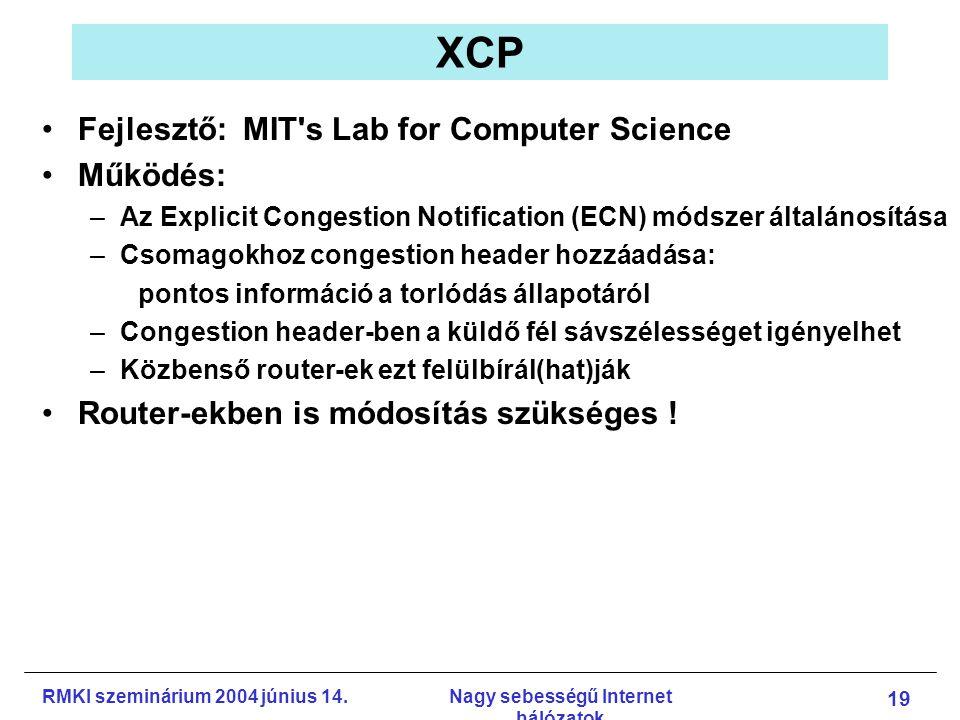 RMKI szeminárium 2004 június 14.Nagy sebességű Internet hálózatok 19 XCP Fejlesztő: MIT s Lab for Computer Science Működés: –Az Explicit Congestion Notification (ECN) módszer általánosítása –Csomagokhoz congestion header hozzáadása: pontos információ a torlódás állapotáról –Congestion header-ben a küldő fél sávszélességet igényelhet –Közbenső router-ek ezt felülbírál(hat)ják Router-ekben is módosítás szükséges !
