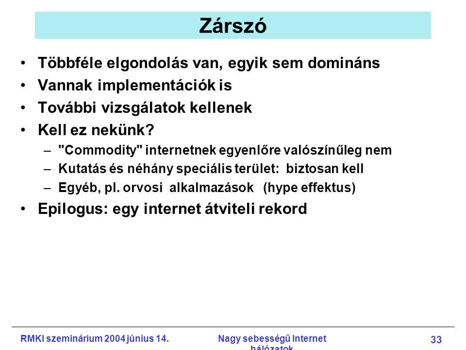 RMKI szeminárium 2004 június 14.Nagy sebességű Internet hálózatok 33 Zárszó Többféle elgondolás van, egyik sem domináns Vannak implementációk is További vizsgálatok kellenek Kell ez nekünk.