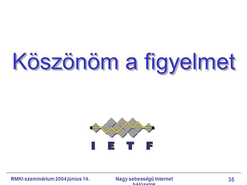 RMKI szeminárium 2004 június 14.Nagy sebességű Internet hálózatok 35 Köszönöm a figyelmet