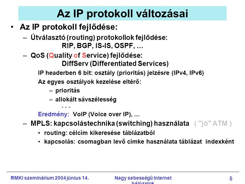 RMKI szeminárium 2004 június 14.Nagy sebességű Internet hálózatok 6 MAC header
