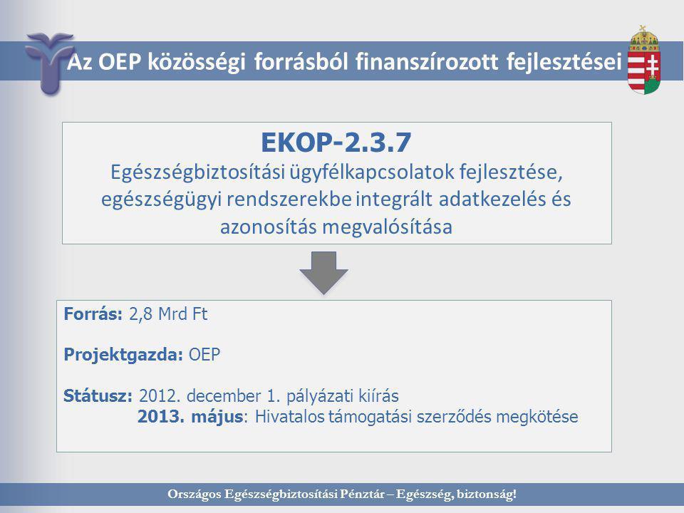 Országos Egészségbiztosítási Pénztár – Egészség, biztonság! Az OEP közösségi forrásból finanszírozott fejlesztései EKOP-2.3.7 Egészségbiztosítási ügyf