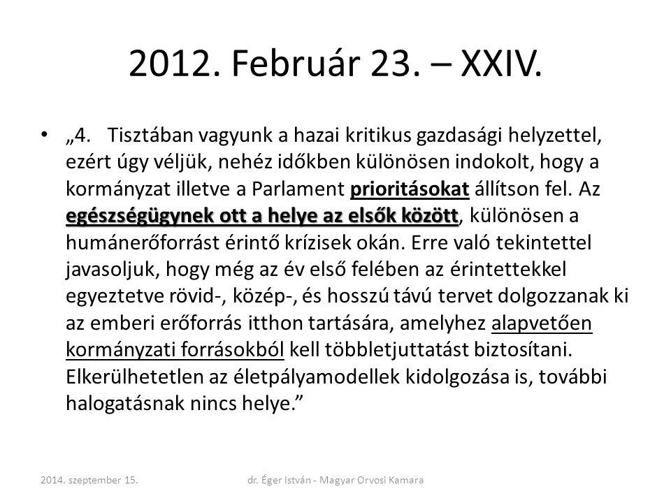 """2012. Február 23. – XXIV. egészségügynek ott a helye az elsők között """"4.Tisztában vagyunk a hazai kritikus gazdasági helyzettel, ezért úgy véljük, neh"""