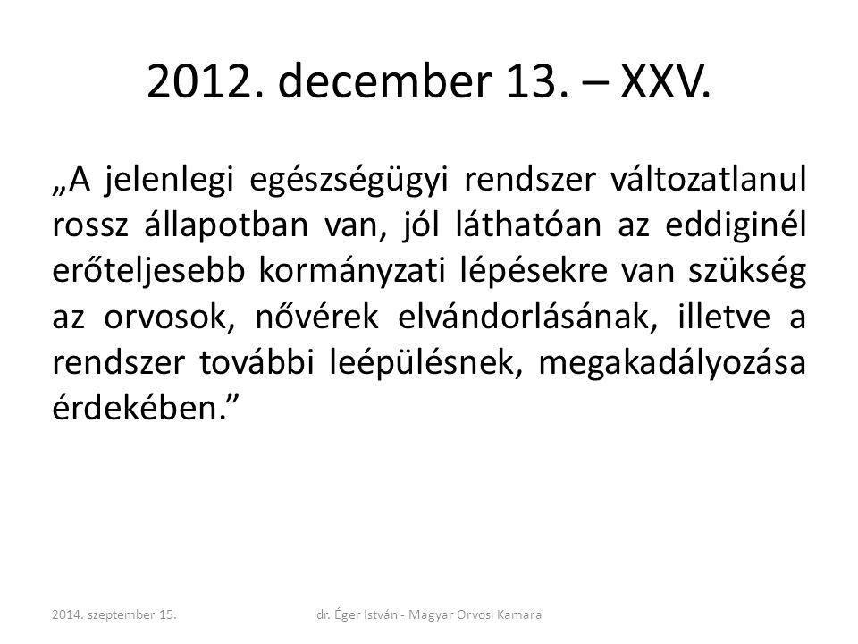 """2012. december 13. – XXV. """"A jelenlegi egészségügyi rendszer változatlanul rossz állapotban van, jól láthatóan az eddiginél erőteljesebb kormányzati l"""