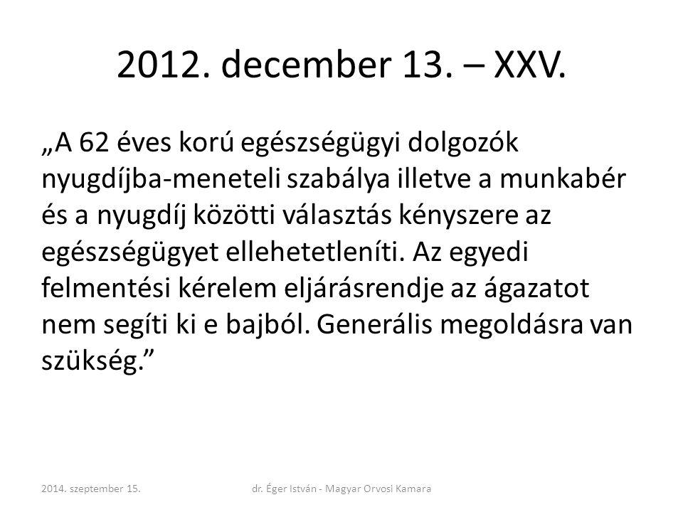 """2012. december 13. – XXV. """"A 62 éves korú egészségügyi dolgozók nyugdíjba-meneteli szabálya illetve a munkabér és a nyugdíj közötti választás kényszer"""