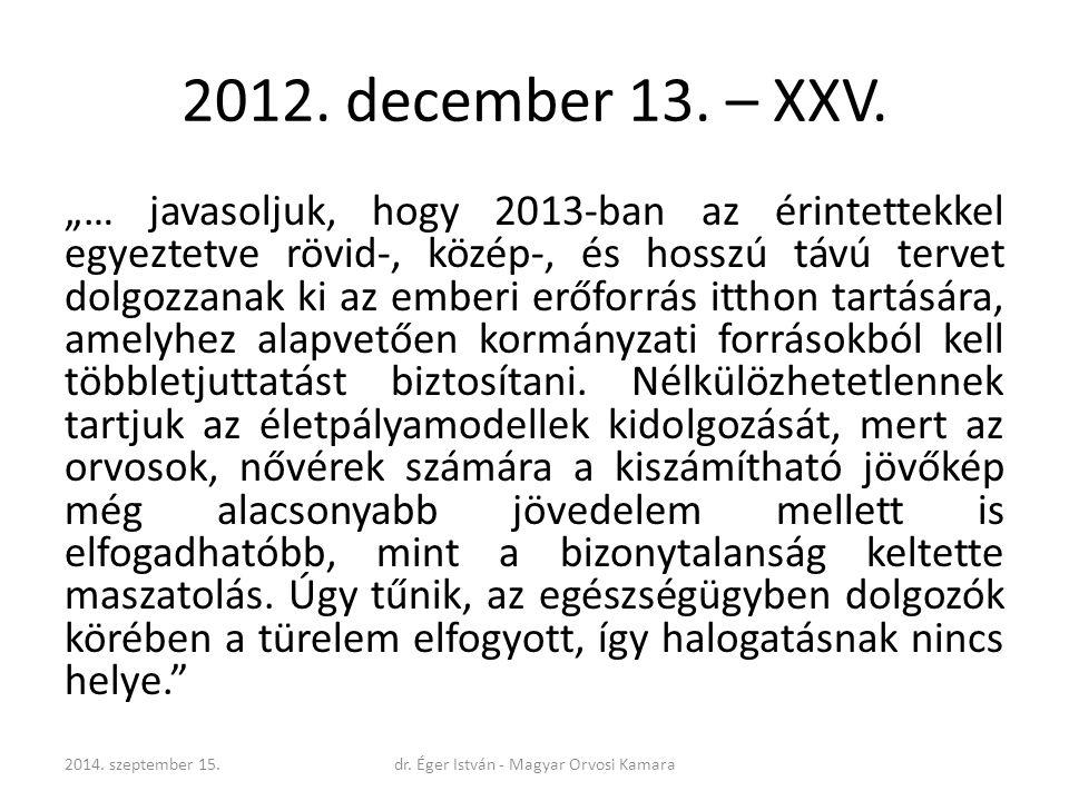 """2012. december 13. – XXV. """"… javasoljuk, hogy 2013-ban az érintettekkel egyeztetve rövid-, közép-, és hosszú távú tervet dolgozzanak ki az emberi erőf"""