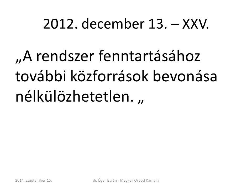 """2012. december 13. – XXV. """"A rendszer fenntartásához további közforrások bevonása nélkülözhetetlen. """" 2014. szeptember 15.dr. Éger István - Magyar Orv"""