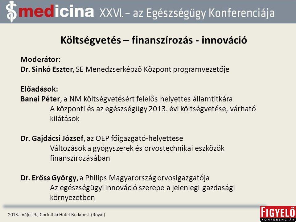Költségvetés – finanszírozás - innováció 2013.