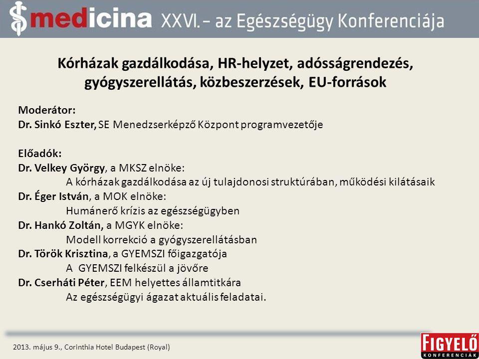 Kórházak gazdálkodása, HR-helyzet, adósságrendezés, gyógyszerellátás, közbeszerzések, EU-források 2013.