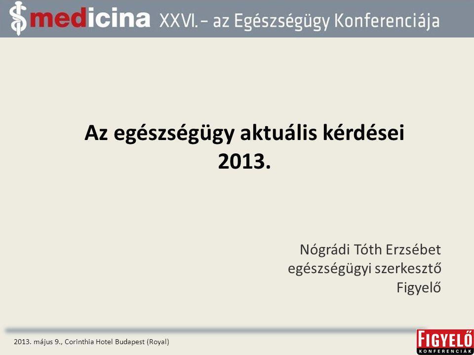 2013.május 9., Corinthia Hotel Budapest (Royal) Az egészségügy aktuális kérdései 2013.