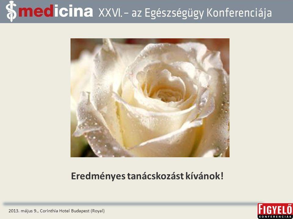 Eredményes tanácskozást kívánok! 2013. május 9., Corinthia Hotel Budapest (Royal)