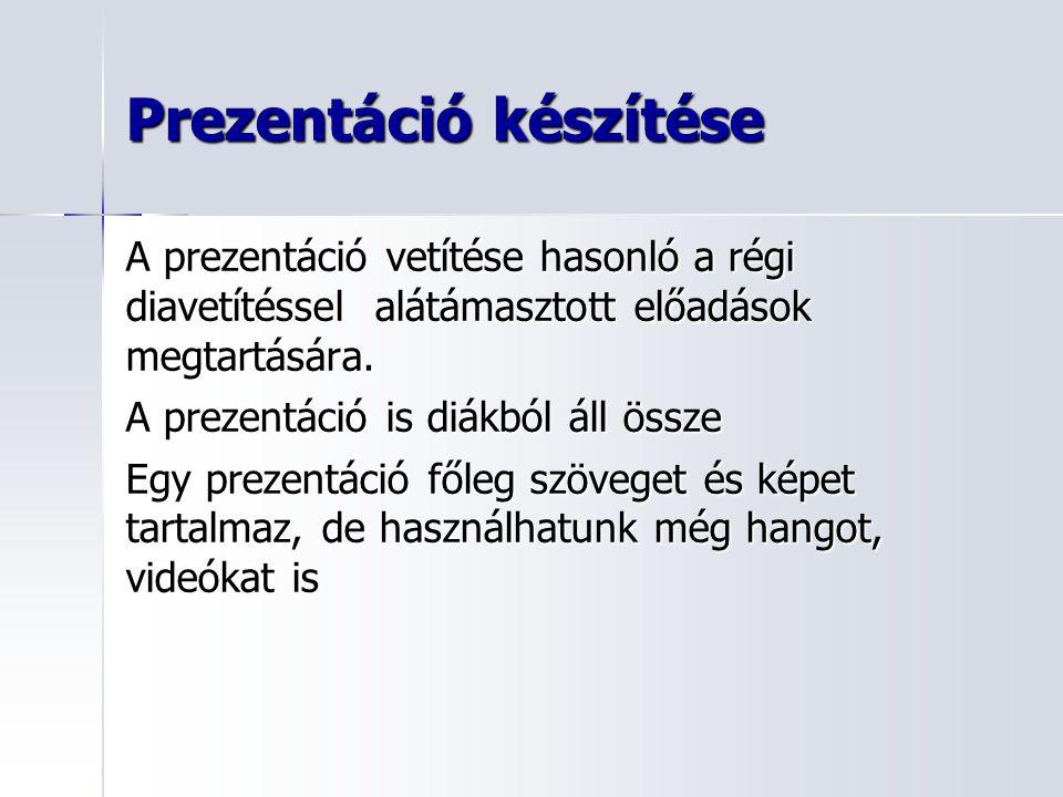 Prezentáció készítése A prezentáció vetítése hasonló a régi diavetítéssel alátámasztott előadások megtartására.