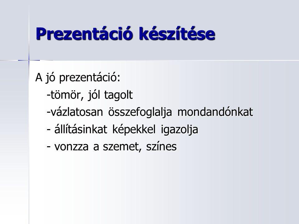 Prezentáció készítése A jó prezentáció: -tömör, jól tagolt -vázlatosan összefoglalja mondandónkat - állításinkat képekkel igazolja - vonzza a szemet, színes
