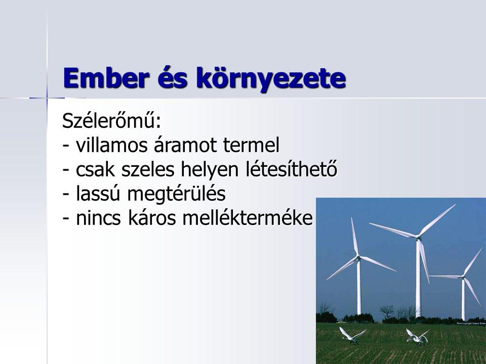Ember és környezete Szélerőmű: - villamos áramot termel - csak szeles helyen létesíthető - lassú megtérülés - nincs káros mellékterméke
