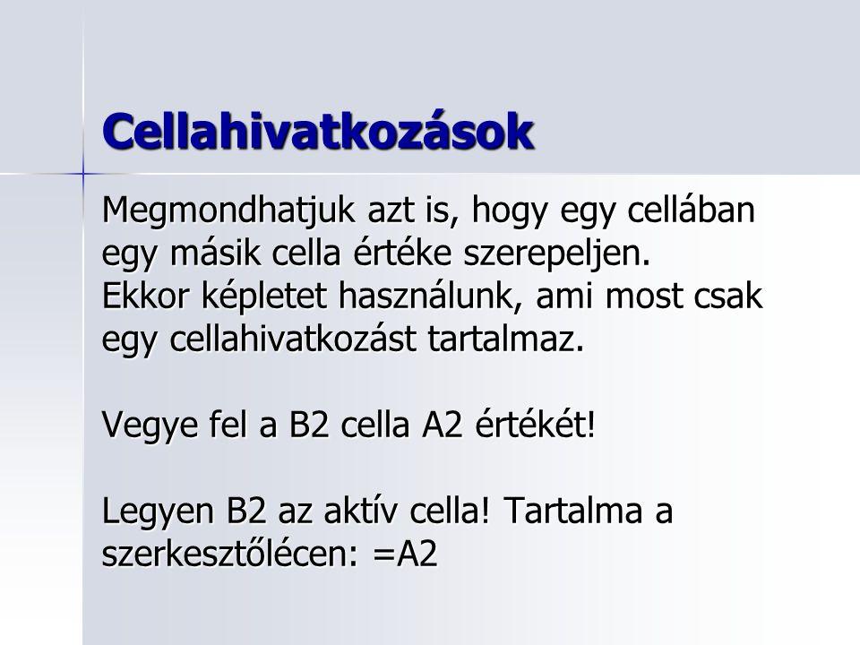 Cellahivatkozások Megmondhatjuk azt is, hogy egy cellában egy másik cella értéke szerepeljen.