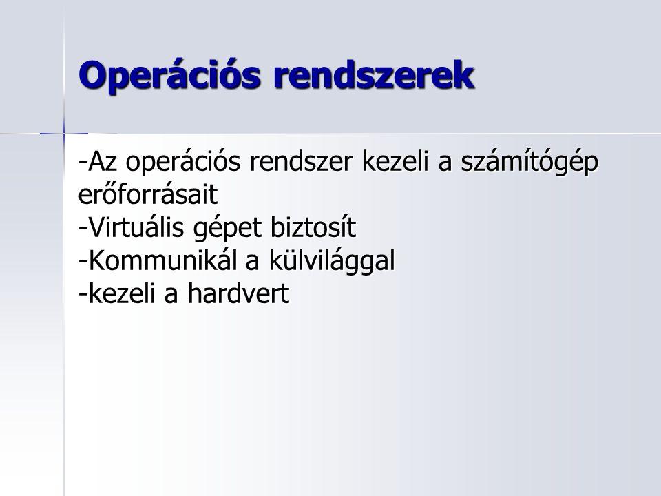 Operációs rendszerek -Az operációs rendszer kezeli a számítógép erőforrásait -Virtuális gépet biztosít -Kommunikál a külvilággal -kezeli a hardvert