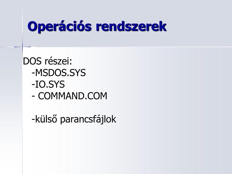 Operációs rendszerek DOS részei: -MSDOS.SYS-IO.SYS - COMMAND.COM -külső parancsfájlok