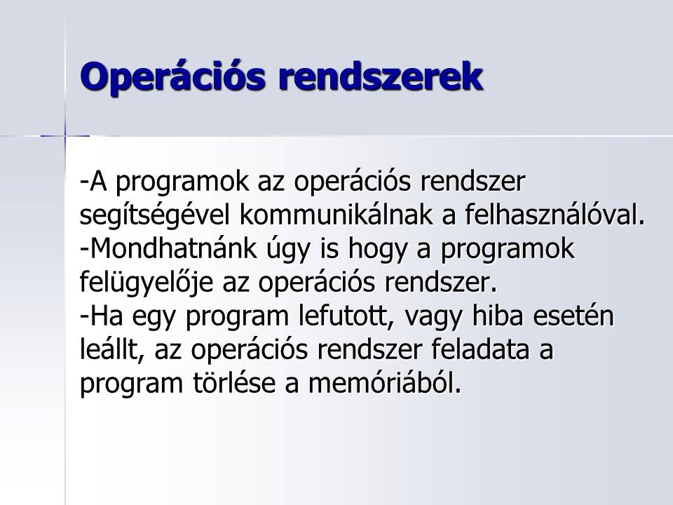 Operációs rendszerek -A programok az operációs rendszer segítségével kommunikálnak a felhasználóval. -Mondhatnánk úgy is hogy a programok felügyelője