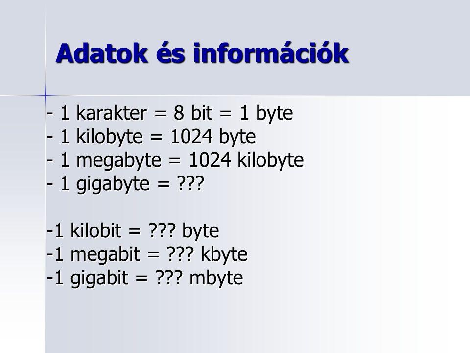 Adatok és információk - 1 karakter = 8 bit = 1 byte - 1 kilobyte = 1024 byte - 1 megabyte = 1024 kilobyte - 1 gigabyte = ??? -1 kilobit = ??? byte -1