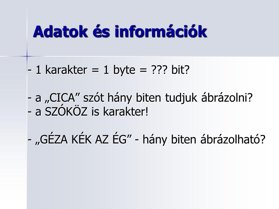 """Adatok és információk - 1 karakter = 1 byte = ??? bit? - a """"CICA"""" szót hány biten tudjuk ábrázolni? - a SZÓKÖZ is karakter! - """"GÉZA KÉK AZ ÉG"""" - hány"""