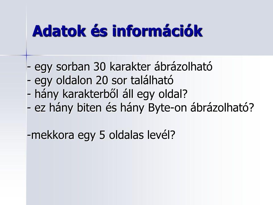 Adatok és információk Összefoglalás: - adat, információ - mekkora egy karakter.