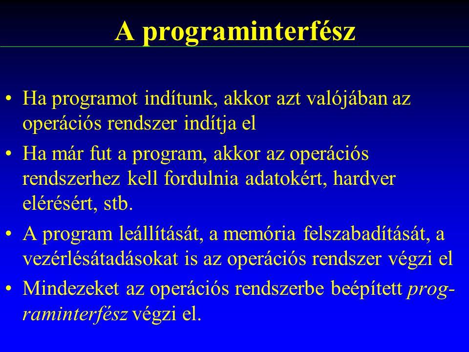 Ha programot indítunk, akkor azt valójában az operációs rendszer indítja el Ha már fut a program, akkor az operációs rendszerhez kell fordulnia adatok