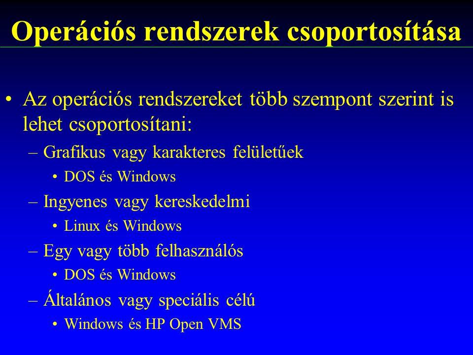 Az operációs rendszereket több szempont szerint is lehet csoportosítani: –Grafikus vagy karakteres felületűek DOS és Windows –Ingyenes vagy kereskedel