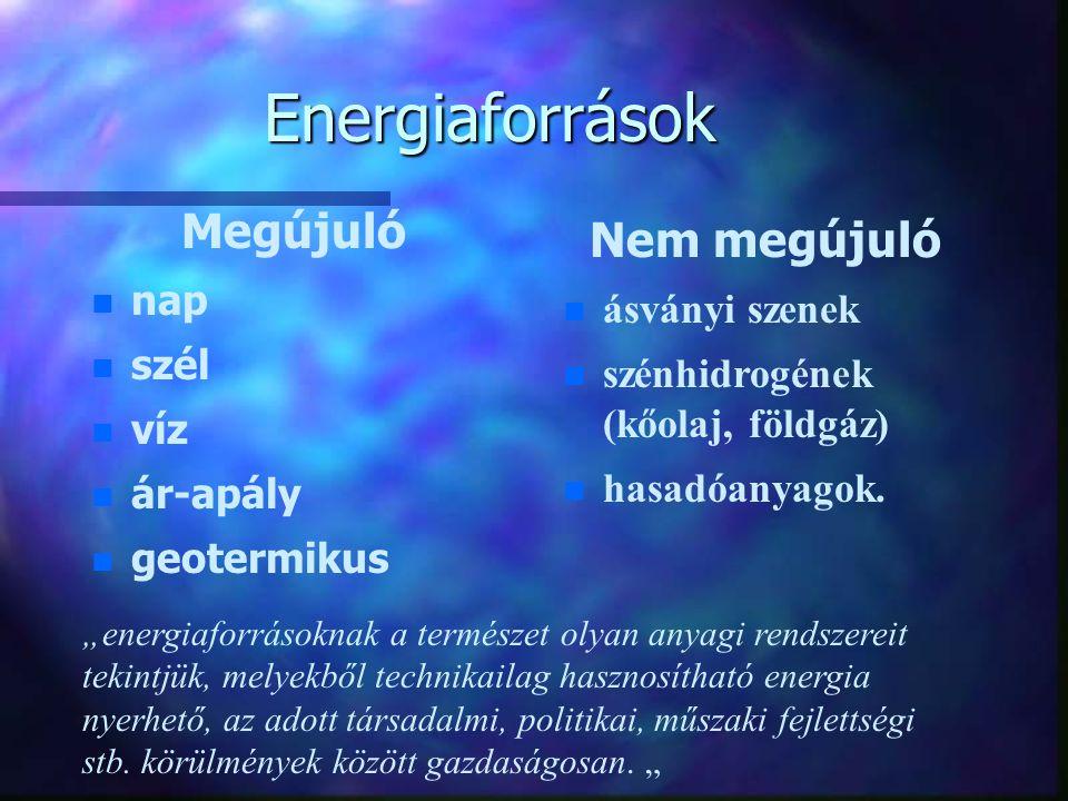 """Energiaforrások Megújuló n n nap n n szél n n víz n n ár-apály n n geotermikus """"energiaforrásoknak a természet olyan anyagi rendszereit tekintjük, melyekből technikailag hasznosítható energia nyerhető, az adott társadalmi, politikai, műszaki fejlettségi stb."""