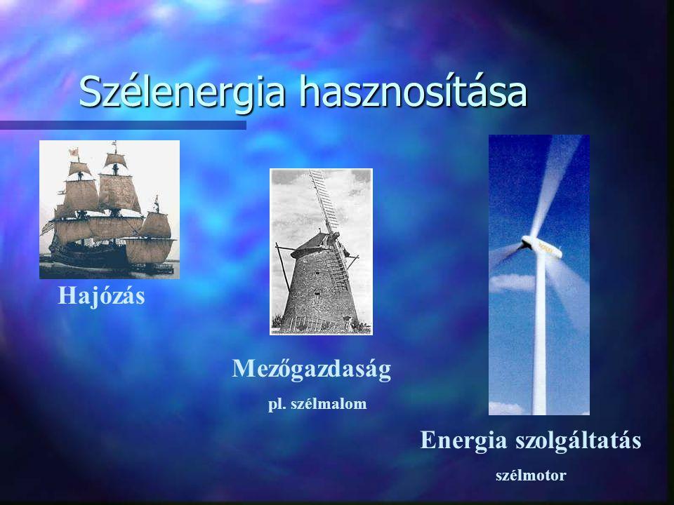 Szélenergia hasznosítása Hajózás Mezőgazdaság pl. szélmalom Energia szolgáltatás szélmotor