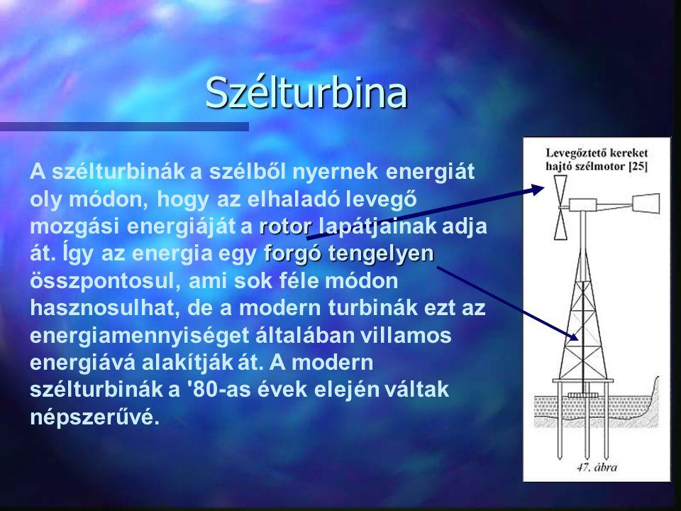 Szélturbina rotor forgó tengelyen A szélturbinák a szélből nyernek energiát oly módon, hogy az elhaladó levegő mozgási energiáját a rotor lapátjainak adja át.