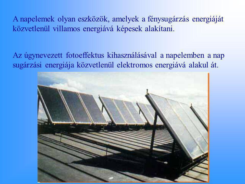 A napelemek olyan eszközök, amelyek a fénysugárzás energiáját közvetlenül villamos energiává képesek alakítani. Az úgynevezett fotoeffektus kihasználá