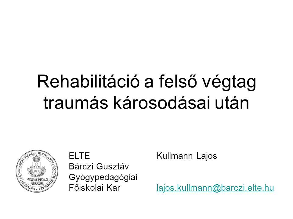 Rehabilitáció a felső végtag traumás károsodásai után ELTEKullmann Lajos Bárczi Gusztáv Gyógypedagógiai Főiskolai Karlajos.kullmann@barczi.elte.hulajo