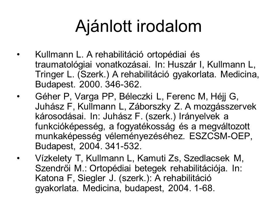 Ajánlott irodalom Kullmann L. A rehabilitáció ortopédiai és traumatológiai vonatkozásai. In: Huszár I, Kullmann L, Tringer L. (Szerk.) A rehabilitáció