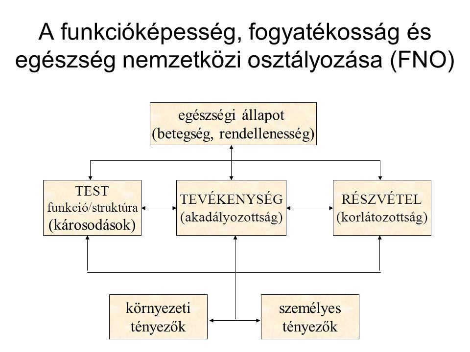 A funkcióképesség, fogyatékosság és egészség nemzetközi osztályozása (FNO) TEST funkció/struktúra (károsodások) TEVÉKENYSÉG (akadályozottság) RÉSZVÉTE