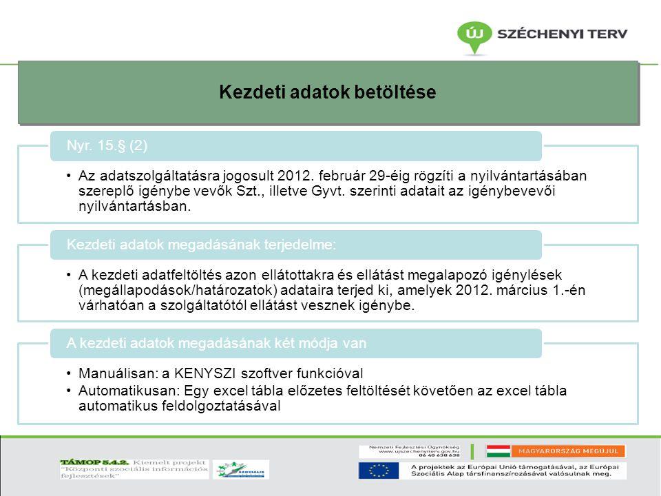 Kezdeti adatok betöltése Az adatszolgáltatásra jogosult 2012. február 29-éig rögzíti a nyilvántartásában szereplő igénybe vevők Szt., illetve Gyvt. sz