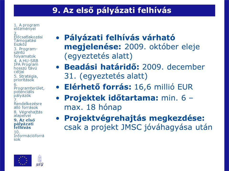 9. Az első pályázati felhívás Pályázati felhívás várható megjelenése: 2009. október eleje (egyeztetés alatt) Beadási határidő: 2009. december 31. (egy