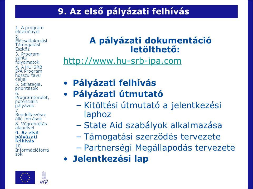 9. Az első pályázati felhívás A pályázati dokumentáció letölthető: http://www.hu-srb-ipa.com Pályázati felhívás Pályázati útmutató –Kitöltési útmutató