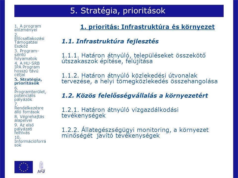 5. Stratégia, prioritások 1. prioritás: Infrastruktúra és környezet 1.1. Infrastruktúra fejlesztés 1.1.1. Határon átnyúló, településeket összekötő úts