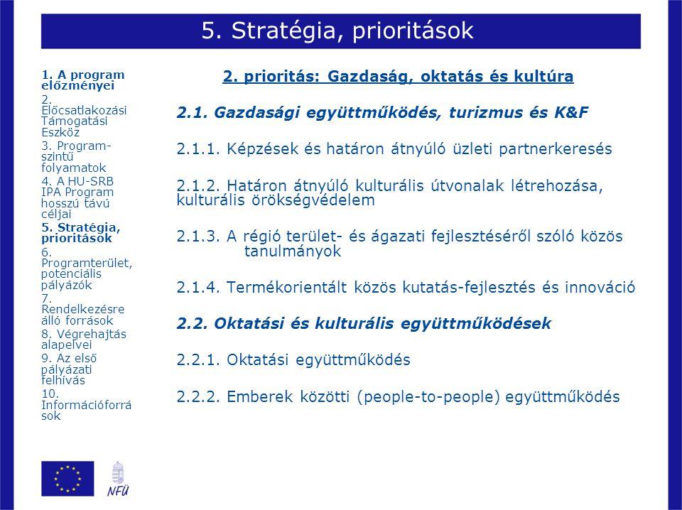 5. Stratégia, prioritások 2. prioritás: Gazdaság, oktatás és kultúra 2.1. Gazdasági együttműködés, turizmus és K&F 2.1.1. Képzések és határon átnyúló