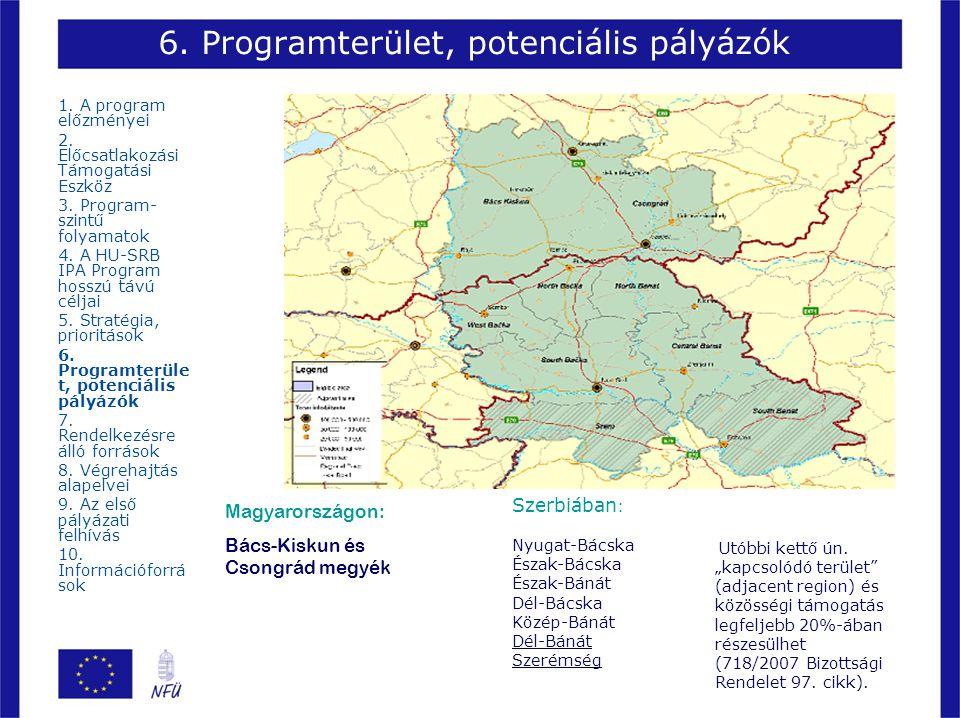 6. Programterület, potenciális pályázók Magyarországon: Bács-Kiskun és Csongrád megyék Szerbiában : Nyugat-Bácska Észak-Bácska Észak-Bánát Dél-Bácska