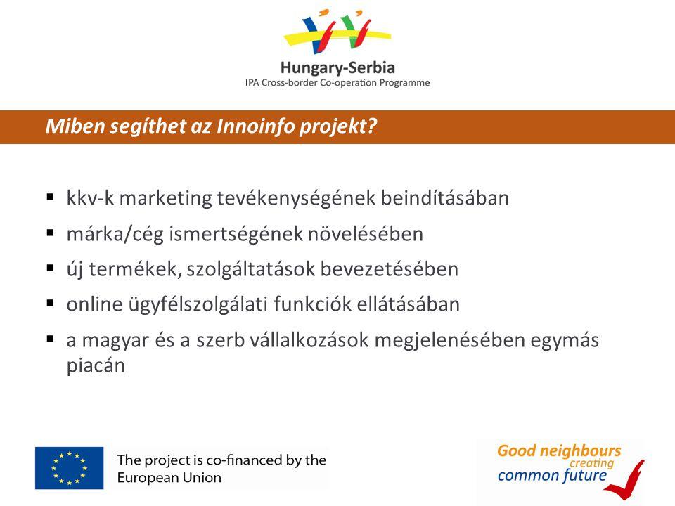 Az Innoinfo adta lehetőségek  az üzleti partnerkeresés  árajánlatok, kedvezményes ajánlatok megjelenítése  referenciák feltöltése, írása  termékek és szolgáltatások megjelenítése  lehetőség új együttműködések kialakítására  felhívások közzététele  megrendelői-beszállítói kapcsolatok megjelenítésére