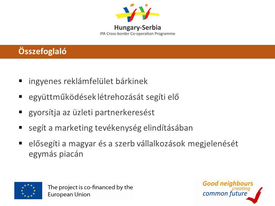 Összefoglaló  ingyenes reklámfelület bárkinek  együttműködések létrehozását segíti elő  gyorsítja az üzleti partnerkeresést  segít a marketing tevékenység elindításában  elősegíti a magyar és a szerb vállalkozások megjelenését egymás piacán