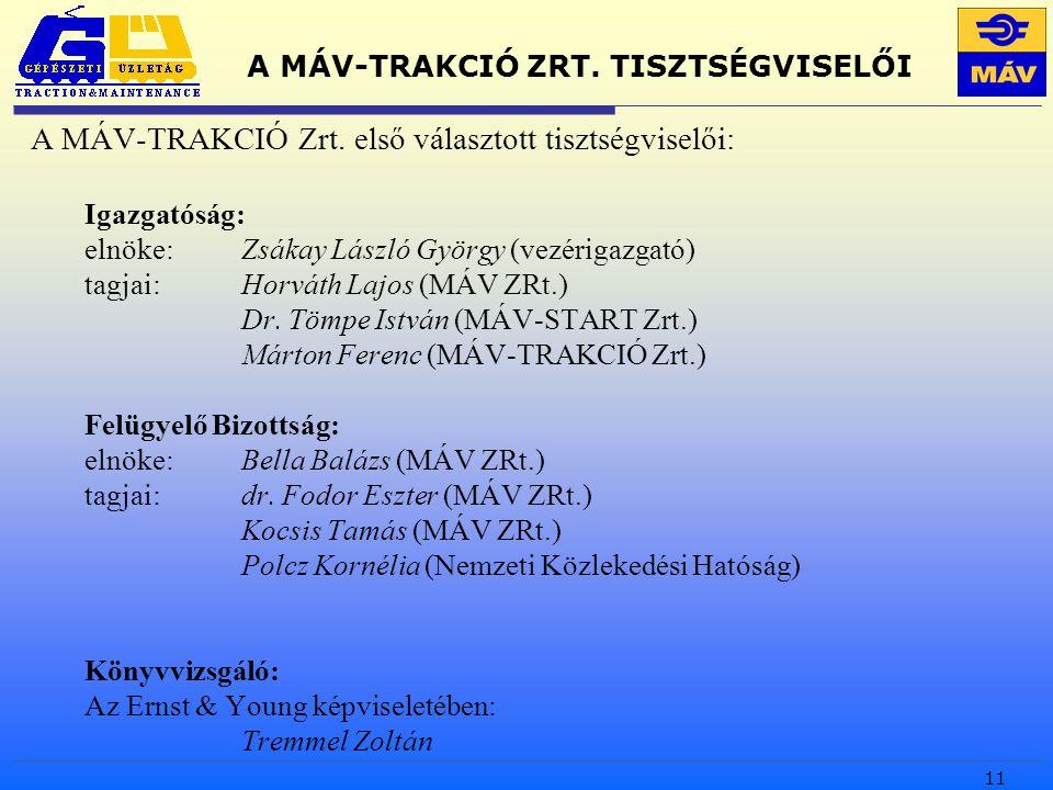 11 A MÁV-TRAKCIÓ ZRT. TISZTSÉGVISELŐI A MÁV-TRAKCIÓ Zrt.