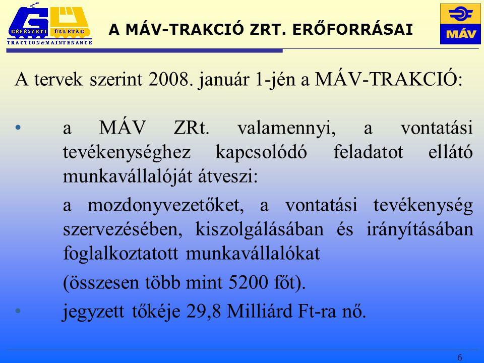 6 A MÁV-TRAKCIÓ ZRT. ERŐFORRÁSAI A tervek szerint 2008.