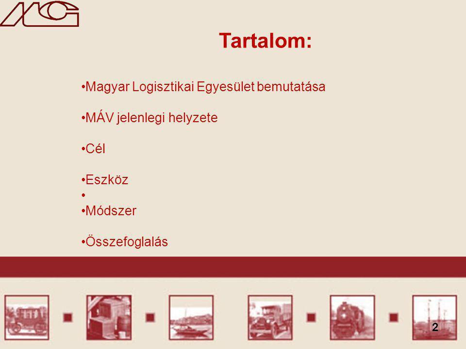 2 Tartalom: Magyar Logisztikai Egyesület bemutatása MÁV jelenlegi helyzete Cél Eszköz Módszer Összefoglalás