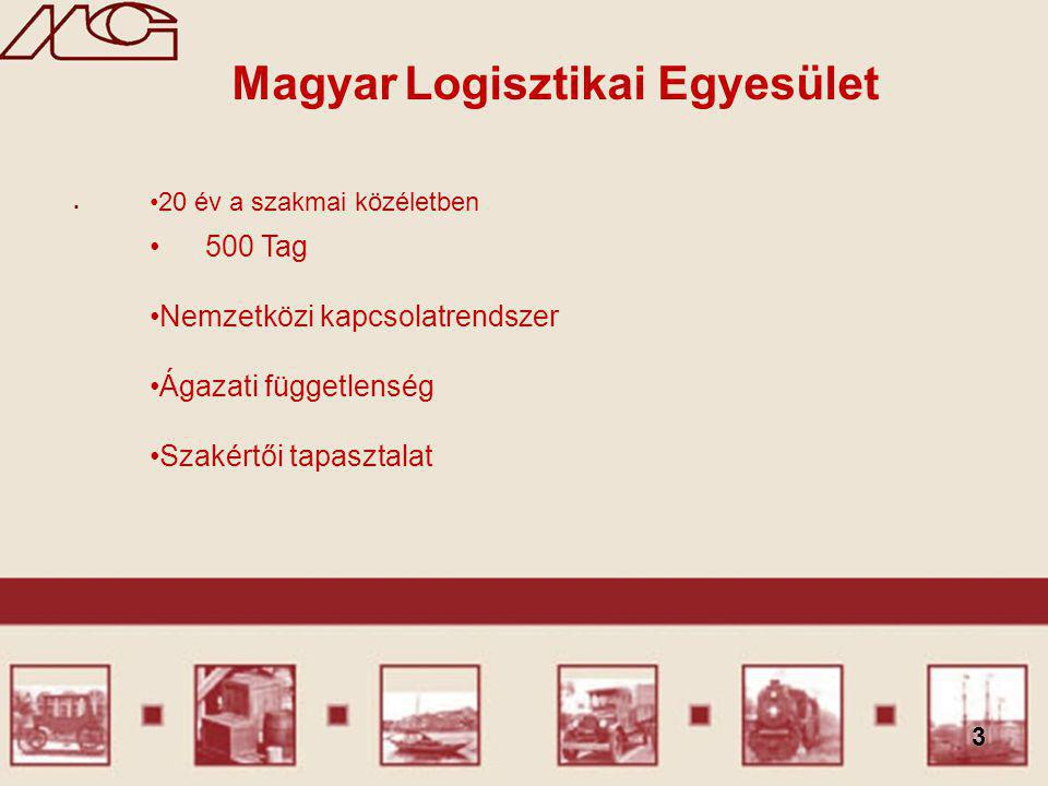 3. Magyar Logisztikai Egyesület 500 Tag Nemzetközi kapcsolatrendszer Ágazati függetlenség Szakértői tapasztalat 20 év a szakmai közéletben