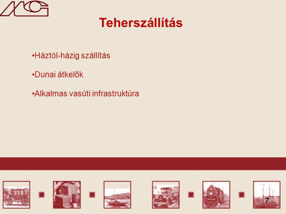 7 Teherszállítás Háztól-házig szállítás Dunai átkelők Alkalmas vasúti infrastruktúra