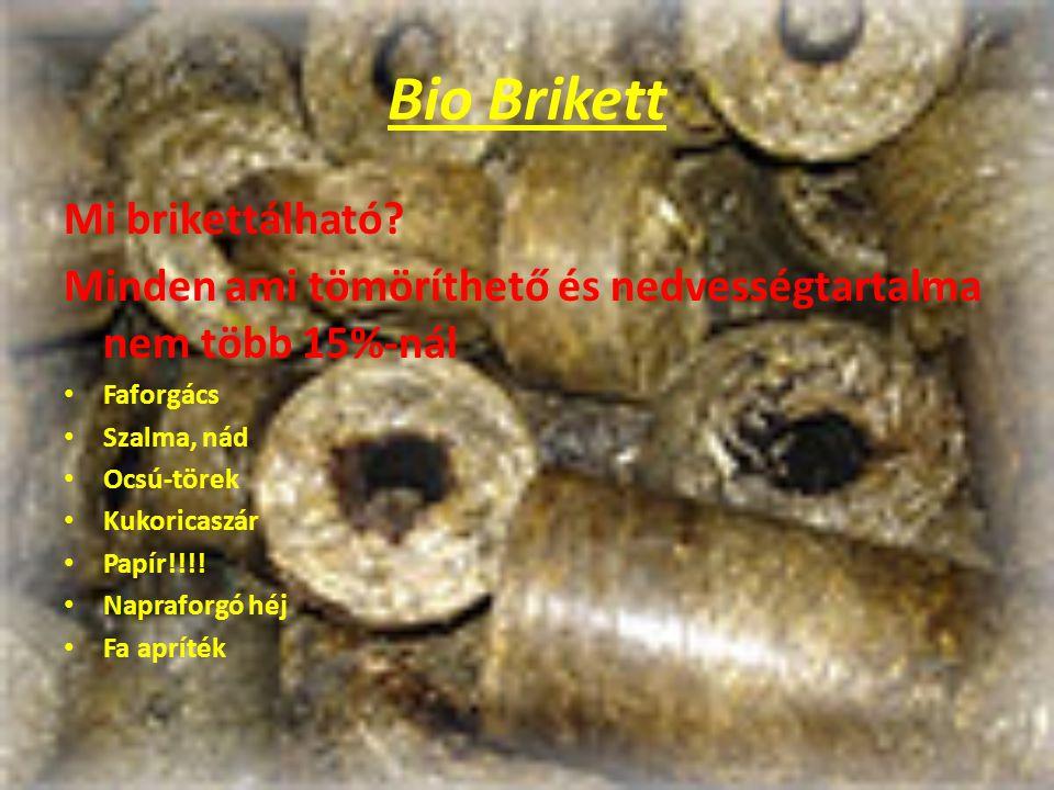 Bio Brikett Mi brikettálható? Minden ami tömöríthető és nedvességtartalma nem több 15%-nál Faforgács Szalma, nád Ocsú-törek Kukoricaszár Papír!!!! Nap