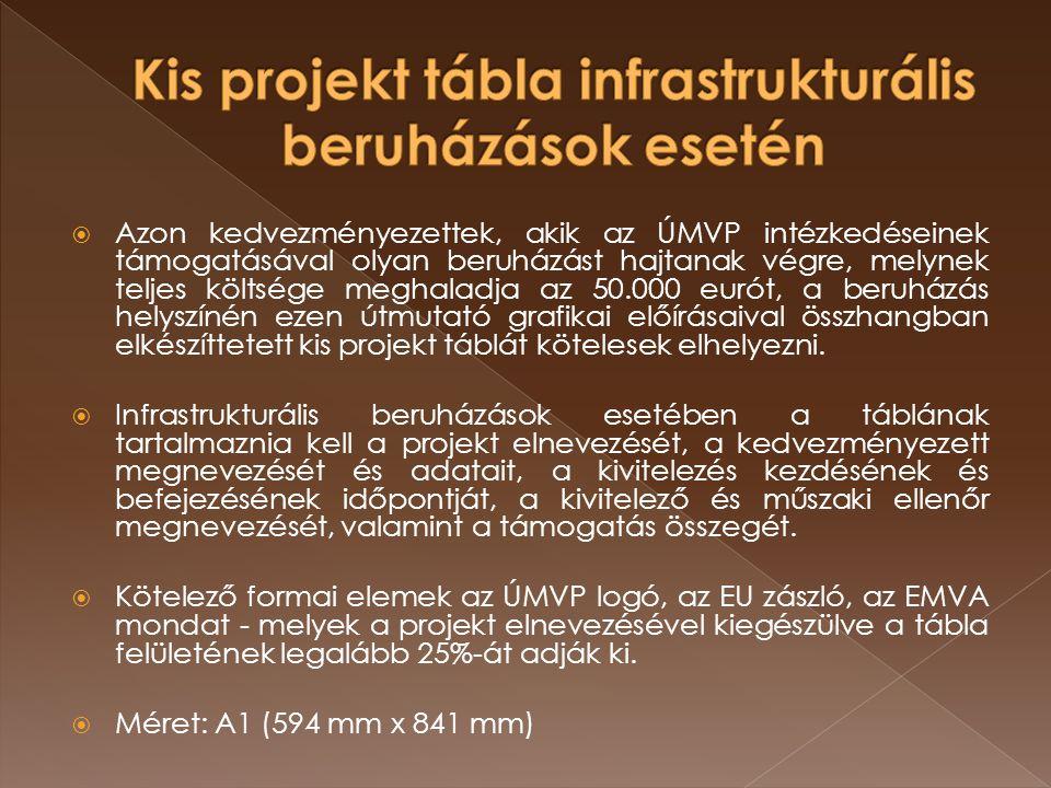  Azon kedvezményezettek, akik az ÚMVP intézkedéseinek támogatásával olyan beruházást hajtanak végre, melynek teljes költsége meghaladja az 50.000 eur