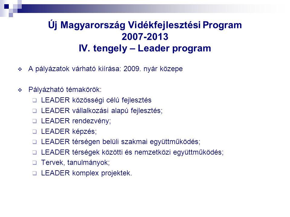 Új Magyarország Vidékfejlesztési Program 2007-2013 IV. tengely – Leader program  A pályázatok várható kiírása: 2009. nyár közepe  Pályázható témakör